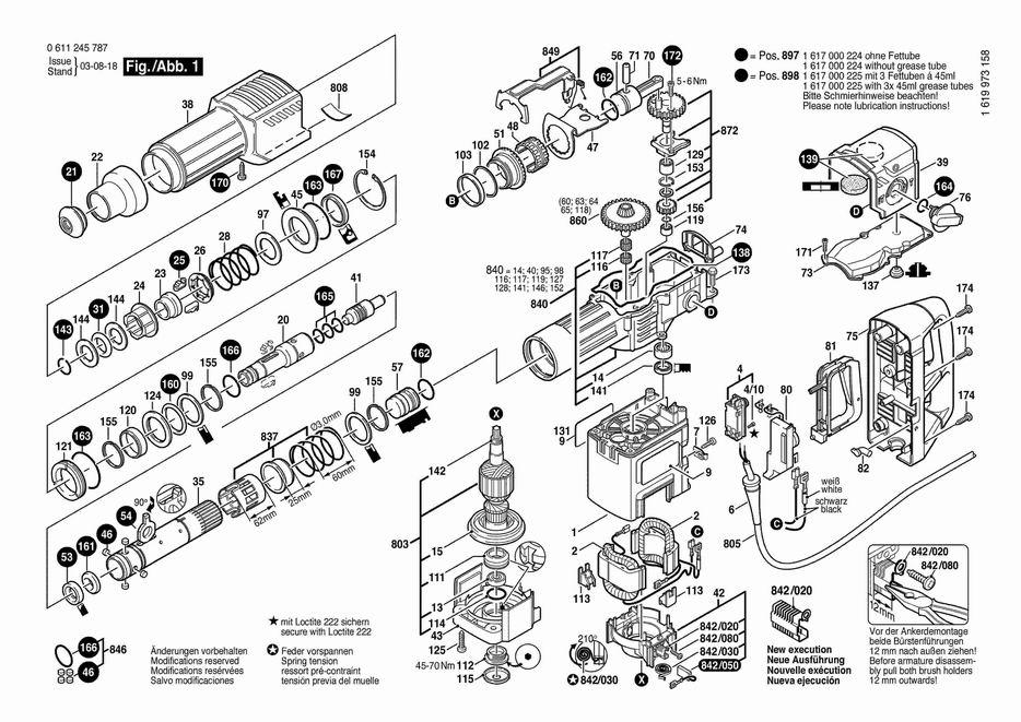 Схема сборки перфоратора бош 4